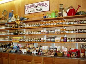 Fresh amish-made preservatives, jams, and jellies line the shelves at Gro-Moore Farm Market, Greenhouse and Pumpkin Patch, Henrietta, New York.